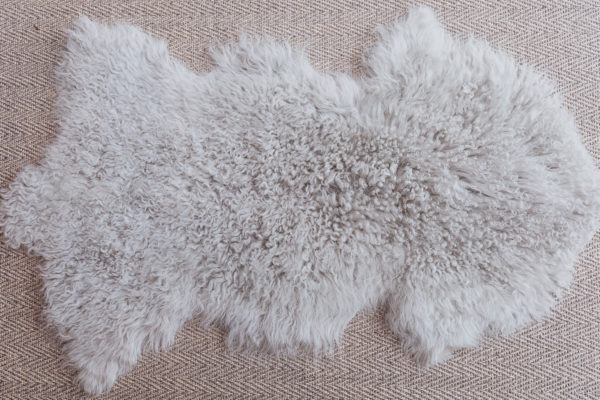 Grey sheep skin rug