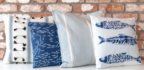 White and blue mackerel cushion