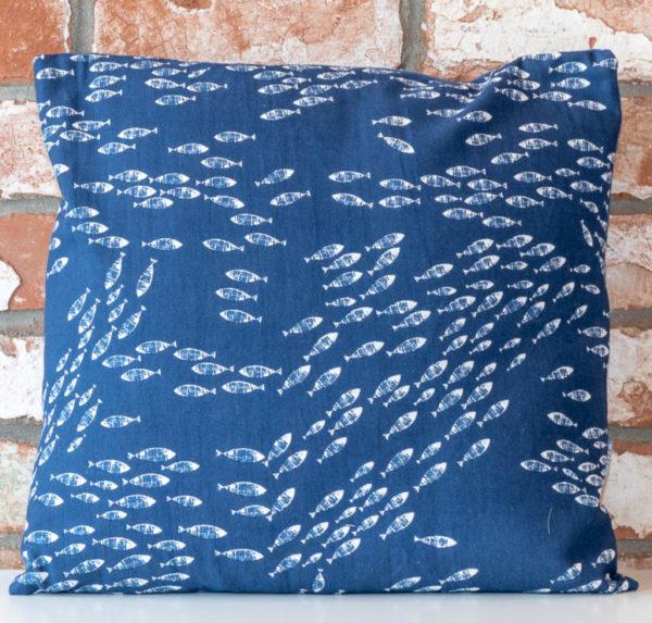 Blue fish cushion