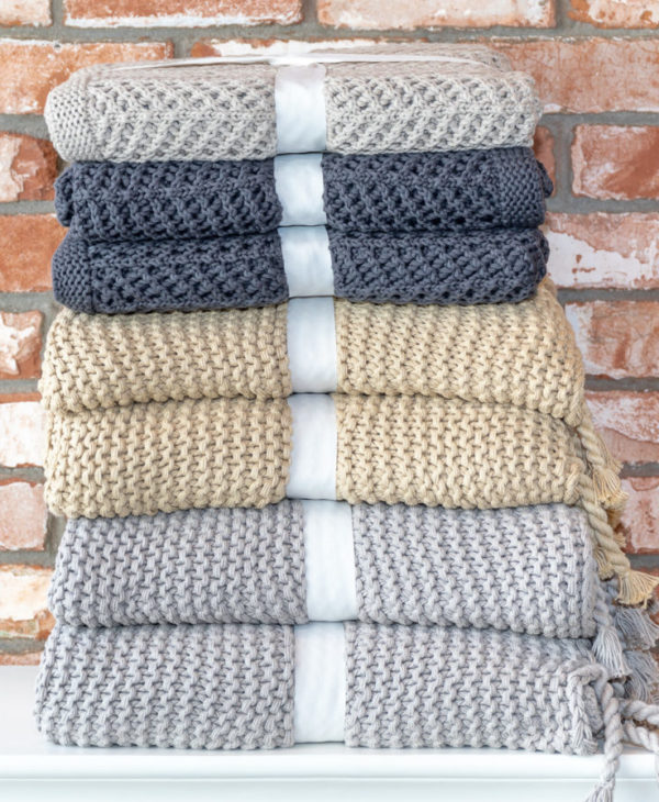 Beige cotton throw blanket
