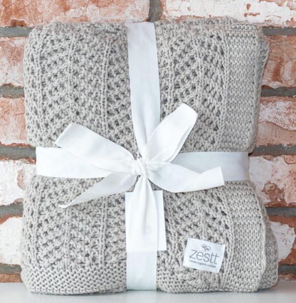 Beige cotton throw blanket