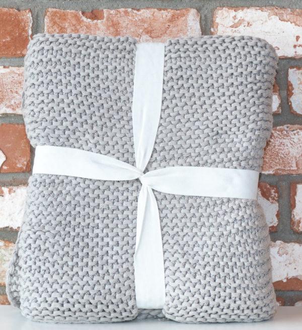 Grey organic cotton throw