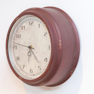 Red distressed clock